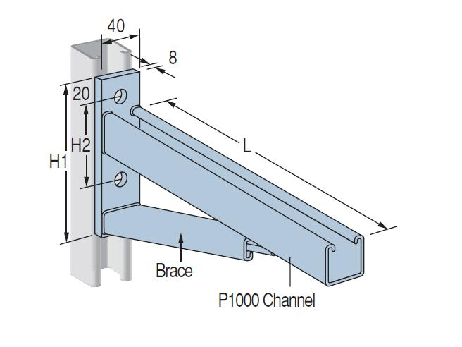 Cantilever Bracket PCL600 Hot Dipped Galvanised 780mm