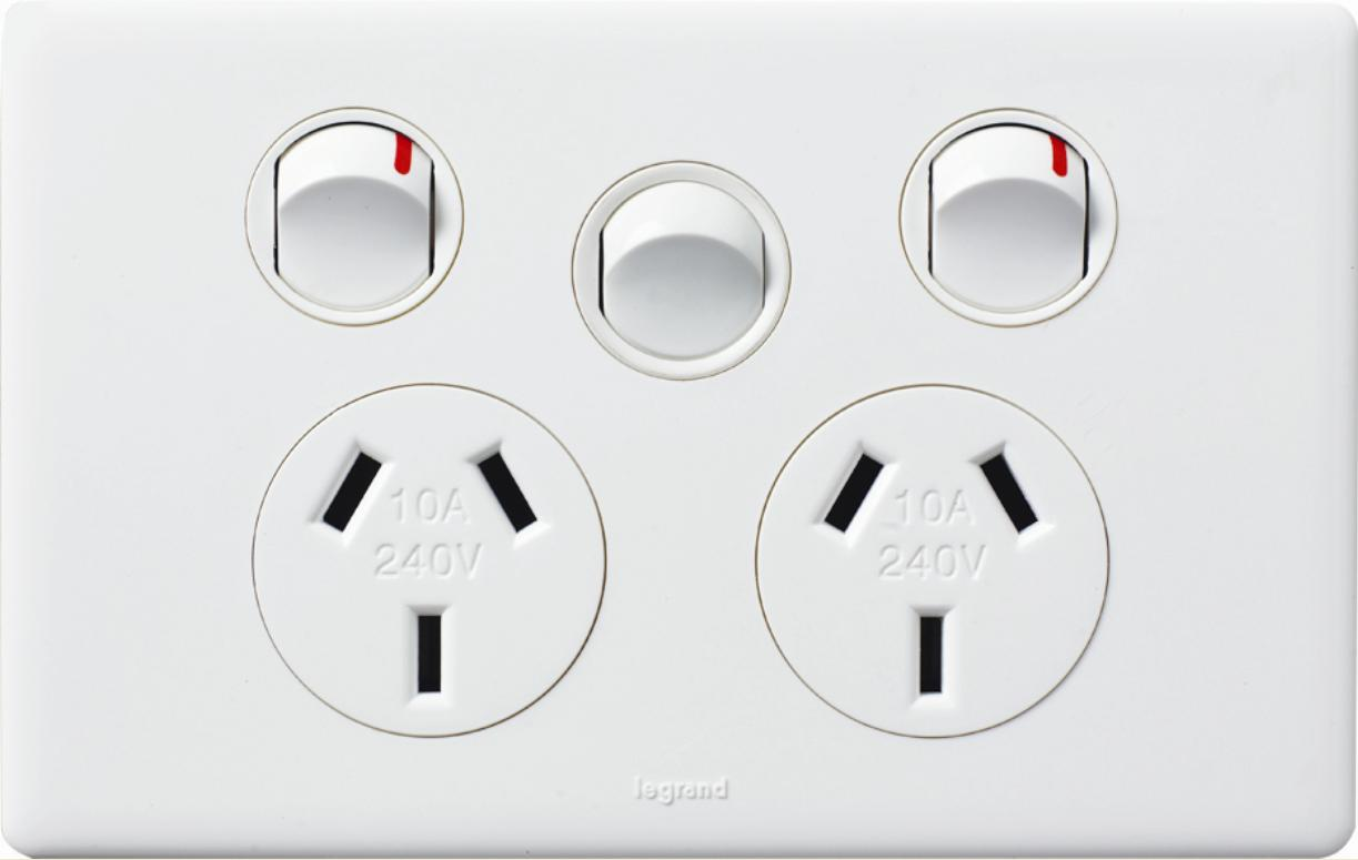 Hpm Legrand Excel Life Double Gpo Power Point With Extra Switch Two Way Light