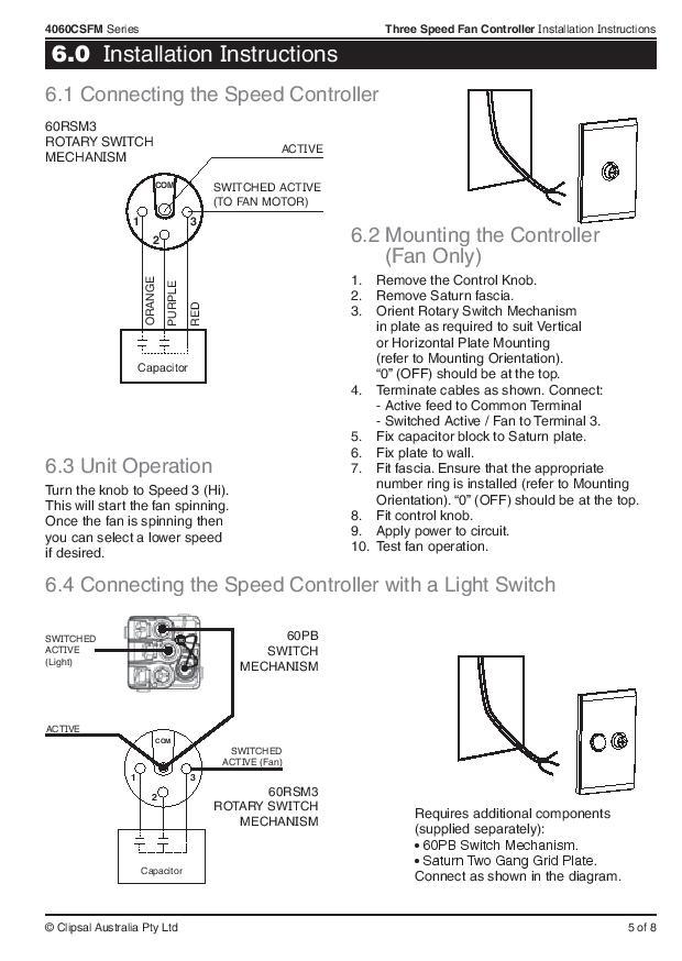 Clipsal 4060CSFM Fan Controller Mechanisms 250V 4060 Series on