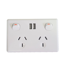 Double Power Point With Twin USB Charger