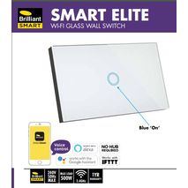 Smart Elite Glass Wall 1 Gang Switches Blue LED indictor  works with Alexa and Google Assistant