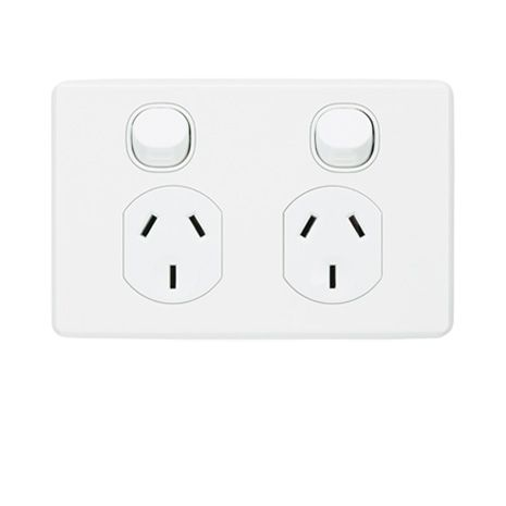 C2025 Twin Switch Socket Outlet Classic 250v 10a