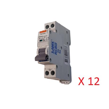 Pack of 12 - LANX  20A Single Pole RCD/MCB RCBO 30ma 6KA