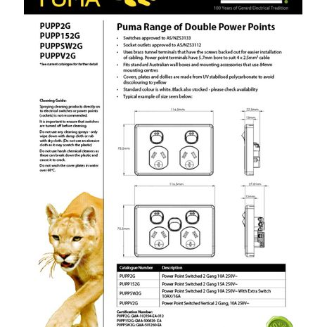 Power Point Switched 2 Gang, 10A 250V with Extra Switch 10AX/16A data sheet