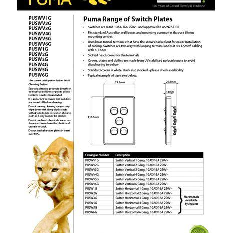 Trader Switch Vertical 5 Gang, 10AX/16A 250V  data sheet