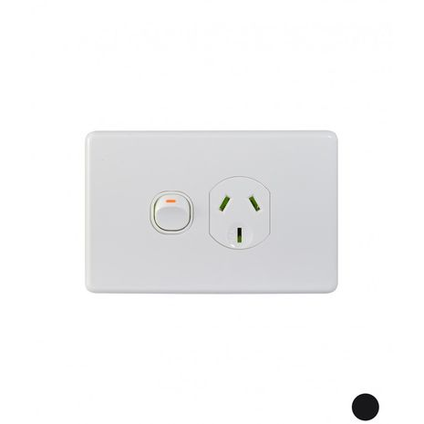 Trader Power Point Switched 1 Gang, 10A 250V  white