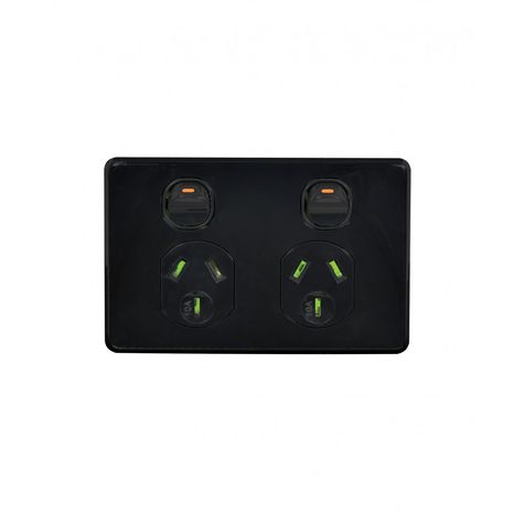 Power Point Switched 2 Gang, 10A 250V with Extra Switch 10AX/16A black