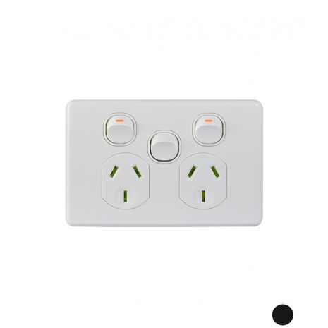Power Point Switched 2 Gang, 10A 250V with Extra Switch 10AX/16A