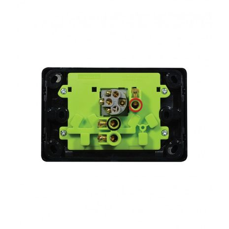 Power Point Switched 2 Gang, 10A 250V with Extra Switch 10AX/16A black back