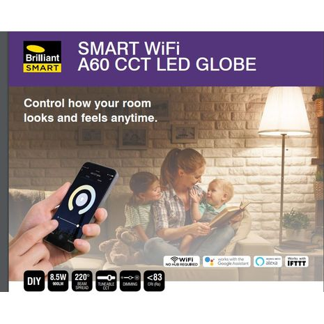 Smart Wifi A60 Led 9w E27 CCT Globe works with Alexa and Google Assistant