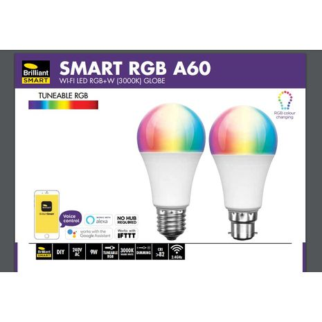 Smart RGB Wifi A60 Led 9w B22 CCT Globe works with Alexa and Google Assistant