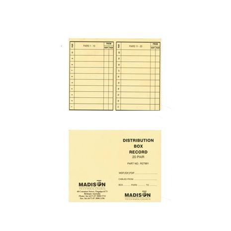 20 Pair Distribution Box Record Book