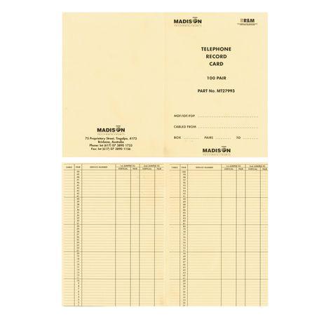 100 Pair Telephone Record Book