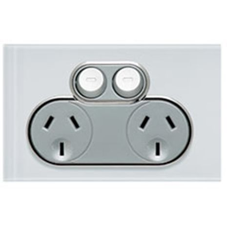 CLIPSAL Saturn Double Power Point (Pure White)