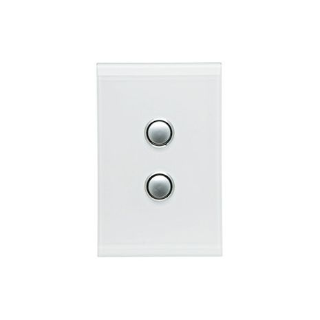 CLIPSAL Saturn Push-Button Two Gang Switch (Pure White) With LED Indicator