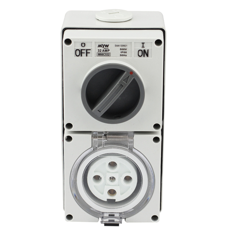 Industrial Switched Socket Outlet 5 Pin 20A